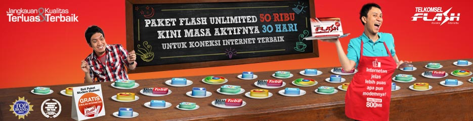 Telkomsel Flash Unlimited Rp 50.000 30 hari