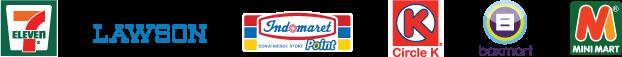 Seven Eleven , Lawson, Indomaret Poins , Circle K, Box mart (Jakarta) , Mini Mart (Bali)